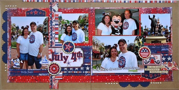 memorial day parade idea: Disneyland Scrapbook, Scrapbook Disney, Scrapbook Patriots, Bright Color, 4Th Of July, Disney Scrapbook, Scrapbook Layout, Scrapbook Holidays, American Scrapbook