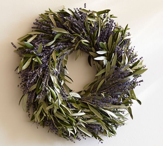 Live Olive & Dried Lavender Wreath | Pottery Barn