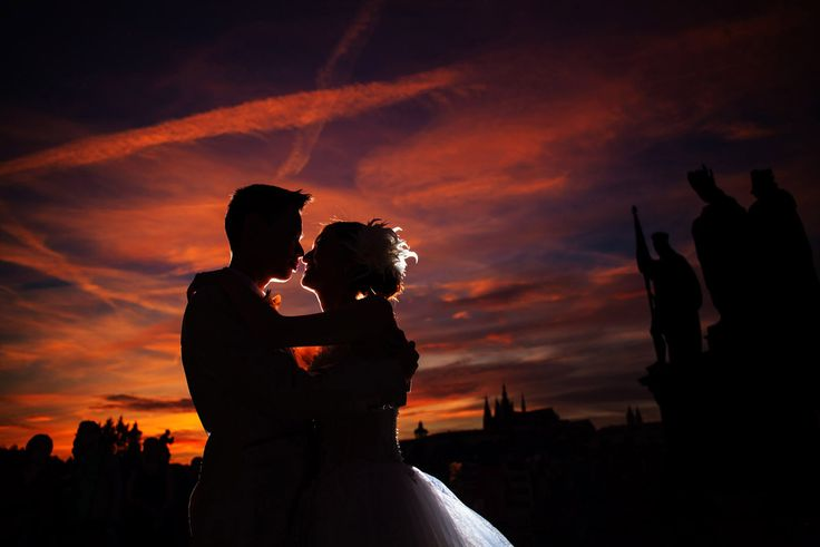 Pre Wedding Best of in Prague: The Charles Bridge at sunset: http://pragueweddingphotography.com