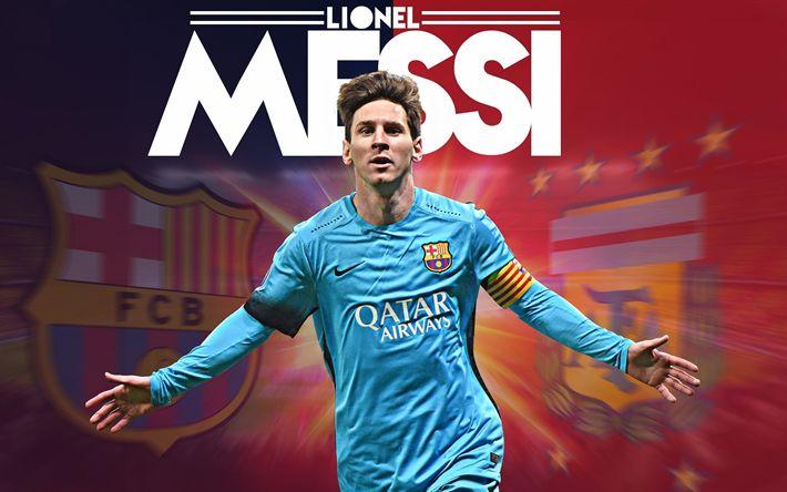 Download wallpapers Lionel Messi, Argentinian footballer, 4k, Barcelona FC, Spain, La Liga, blue T-shirt, Catalonia