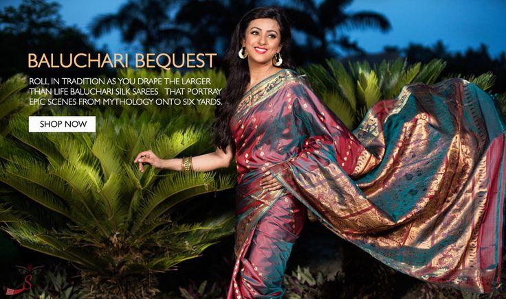 Type of sari originated in Bengal, Baluchari saree locally called Baluchuri sari is known for depictions of mythological scenes on the pallu of the sari.
