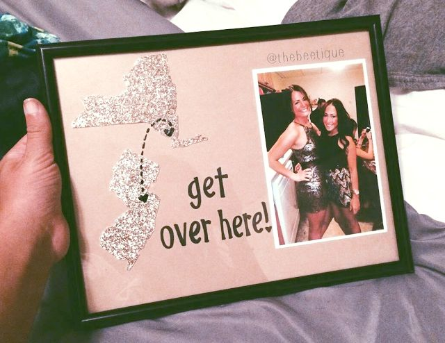 DIY Gift Long Distance BFF Two States Frame