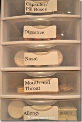 Bathroom storage - use small drawer sets to organize toiletries.