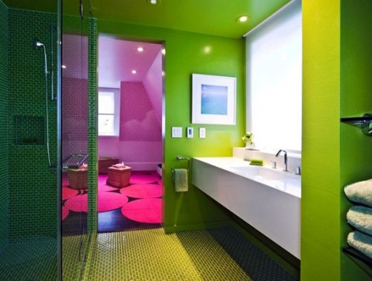 10 Interesting Colorful Bathroom Designs: 10 Interesting Colorful Bathroom  Designs With Green Walls And White Washbasin And Purple Shower Room