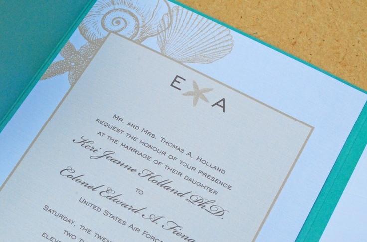 Sea shell corner pocket fold wedding invitation. $4.95, via Etsy.