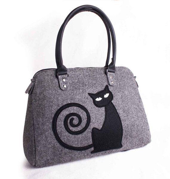 Felt bag, Felt handbag, Felt Tote Bag, Women Tote Bag, Bags and purses, Grey Bag, Shoulder Bag, Bag with cat, zipper closure