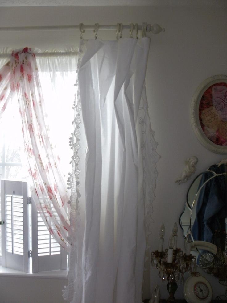 Beautiful shabby curtains shabby chic pinterest - Shabby chic curtain poles ...