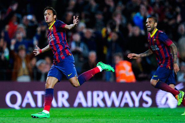 Selebrasi Neymar saat ikut menyumbang gol kala Barca membungkam Rayo Vallecano 6-0