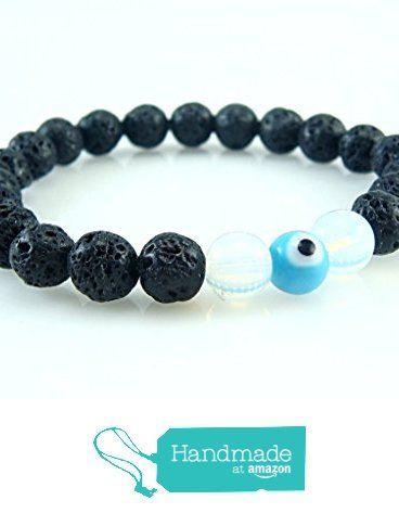 Lava Stone Round Beads with Moonstone and Evil Eye Talisman Good Luck Stretch Bracelet 7.4'' Unisex %15 SALE from echmeck https://www.amazon.com/dp/B01MYG4LRU/ref=hnd_sw_r_pi_dp_pO1ezb74FTWSD #handmadeatamazon