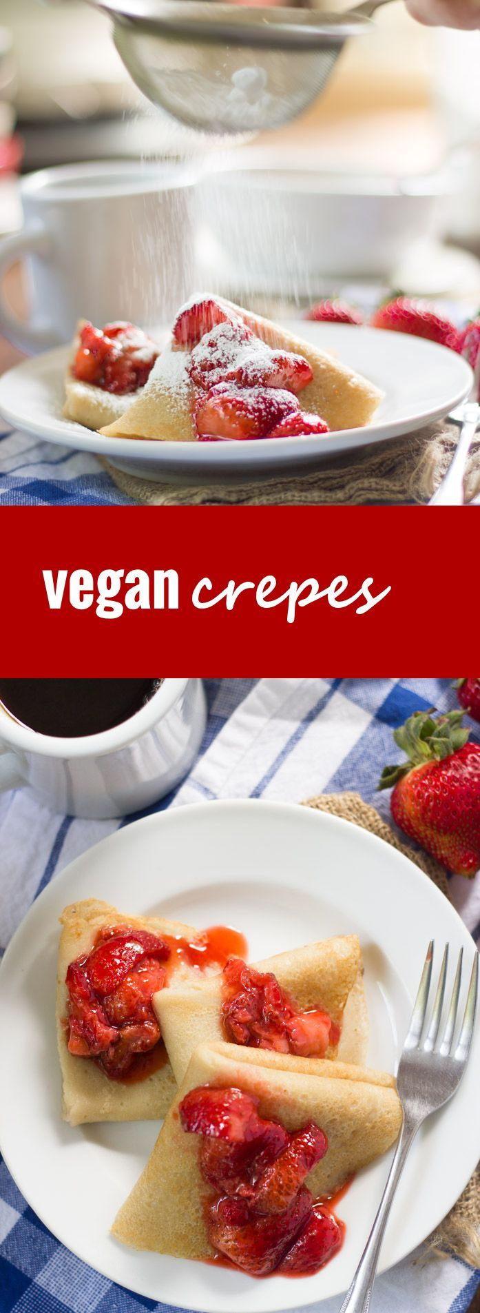 These vegan crepes are super easy to make, and can be eaten as part of a sweet breakfast or stuffed with savory fillings for an elegant dinner.
