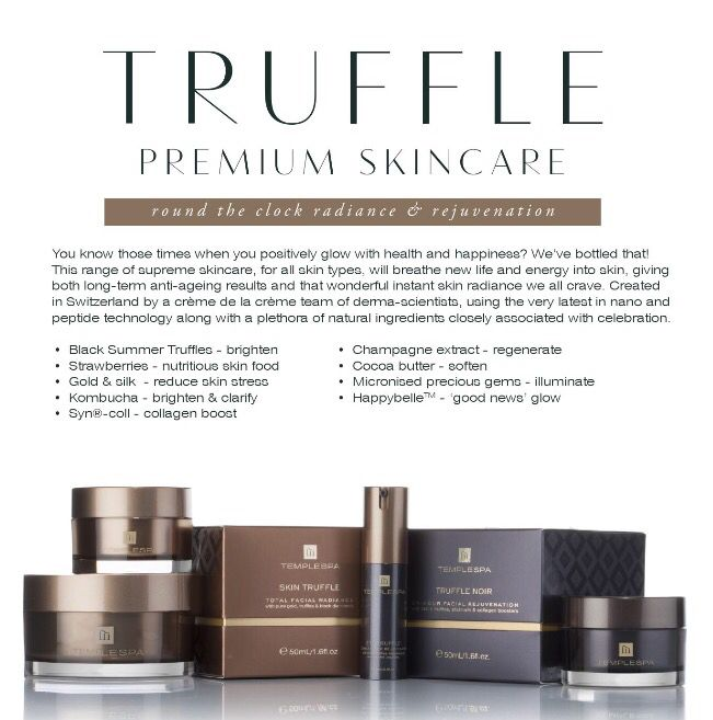 Amazing luxury anti-ageing skincare. Skin Truffle contains black summer truffles, champagne extract, gold & silk actives & diamond powder. Gives your skin an amazing glow www.templespa.com/lornagoodfellow