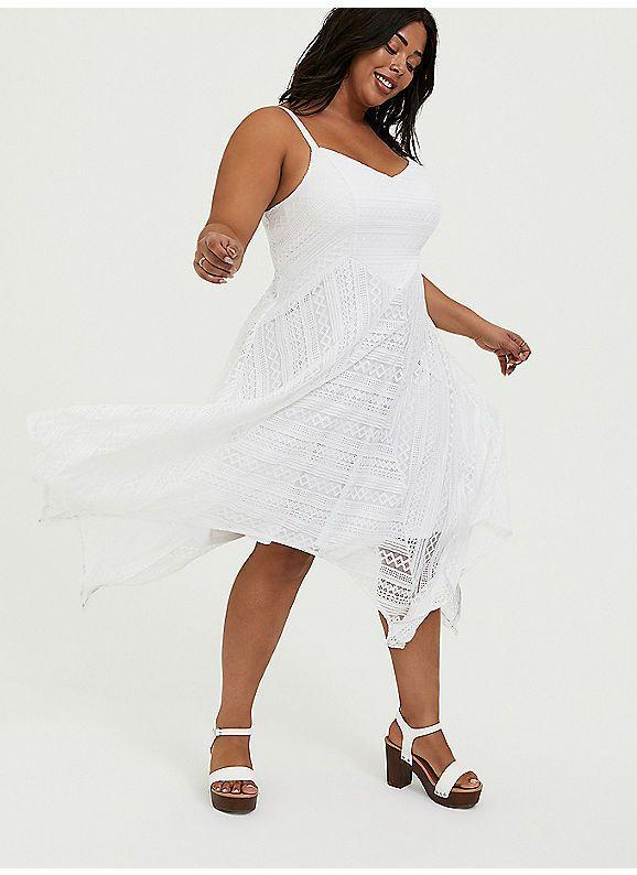 Torrid White Lace Handkerchief Skater Dress In 2020 Dresses Lace Skater Dress Midi Ruffle Dress
