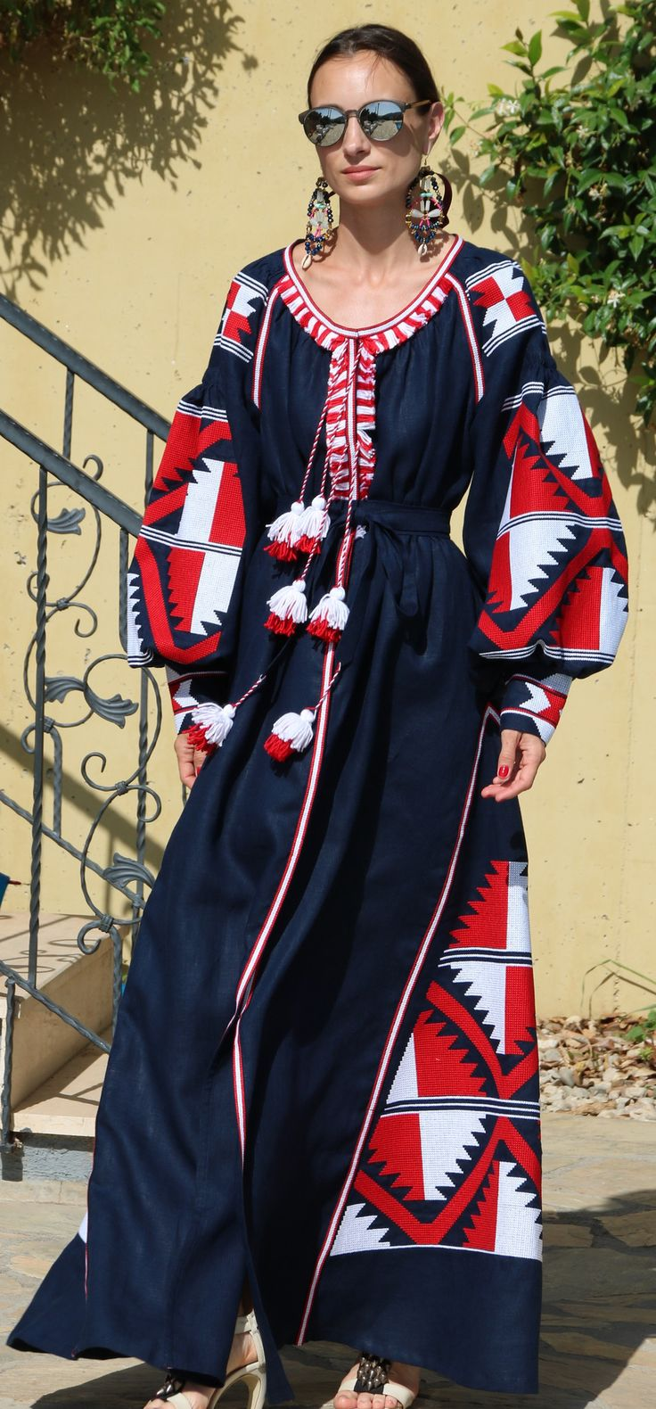 Navy vita kin style vyshyvanka linen Maxi dress red white embroidery size XS-XXL MX00011