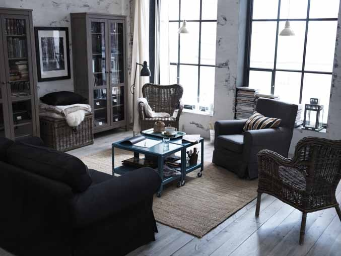 With Rustic Style In The Living Room Why Not Play Darker Tones Of Blue And Black Combine Them Natural Materials Like Rattan Add Rus