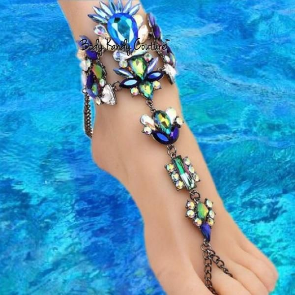 Tiki Jeweled Crystal BareFoot Sandals-Barefoot Sandals-Body Kandy Couture. Crystal Barefoot Sandals Gypsy Beach Wedding foot jewelry with Sparking Aurora Borealis crystals Elegant Unique Something Blue Bridal Barefoot shoes sandal. Perfect for Destination Weddings and Beach Theme Jewelry  Adjustable Extender Chain With Lobster Clasp  Made Upon Order  Please Allow Up to Two Weeks Production Time