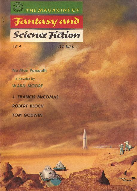 The Magazine of Fantasy and Science Fiction, April 1956, cover by Chesley Bonestell