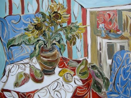 """""""Breakfast with Blue Chairs"""" by ©Kristin Gibson http://www.fineartandfabric.com"""