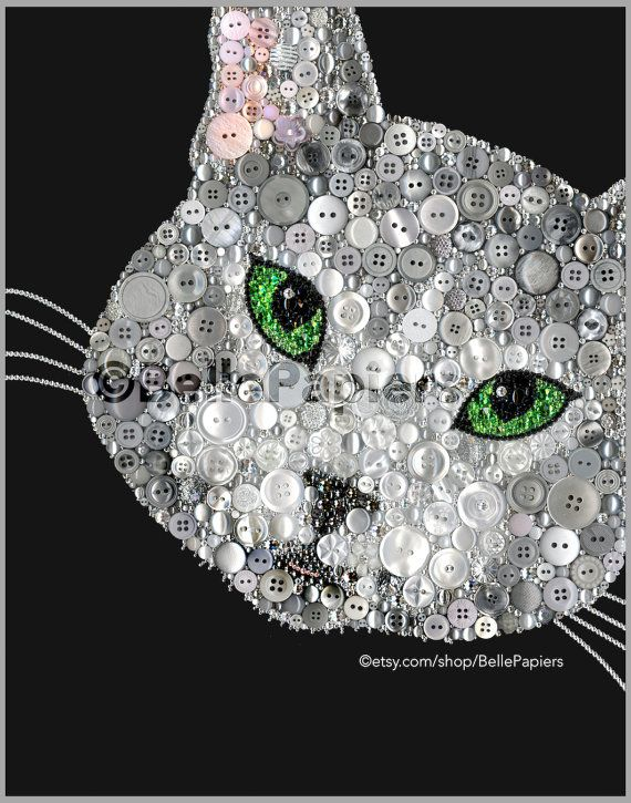 Button Art Cat Portrait Pet Portrait Button Kitty by BellePapiers