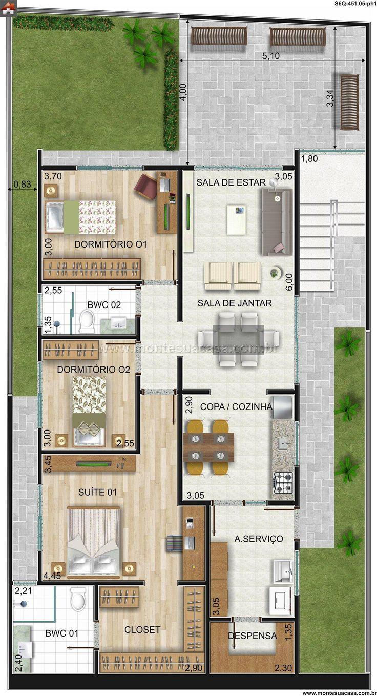Planta de Sobrado - 6 Quartos - 451.05m² - Monte Sua Casa