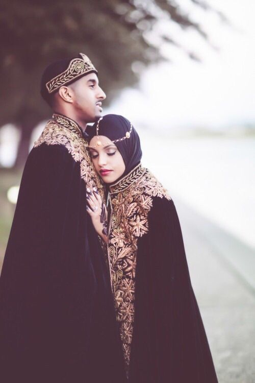 "samuelernesto:In Eritrea/Ethiopia (the ethnic group Tigrinya, Tigray and Amhara) tradition bride and groom wear a black velvet cape (called ""Ghaba"") and crown with gold broidery to symbolize that they are the king and queen of their household. In this picture the Bride is muslim, which probably makes her part of the Jeberti (the Muslim Tigrinya from Eritrea) Via randomhabesha"