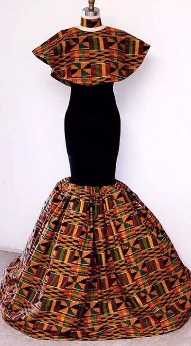 A beautiful African print maxi dress with fully flared bottom and short cape around neck. Bottom flare has a lot of tulle in it to create volume.   It fastens at the back with a zipper. Fully lined and made from 100% African print cotton. Kente Evening Dress. African dress, African fabric, Ankara dress, African print skirt. (affiliate)