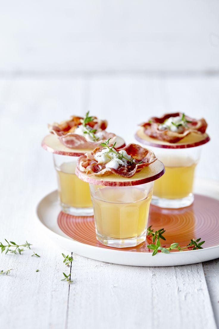 Appeljenever met 'toast' van appel, pancetta en geitenkaas - Libelle Lekker