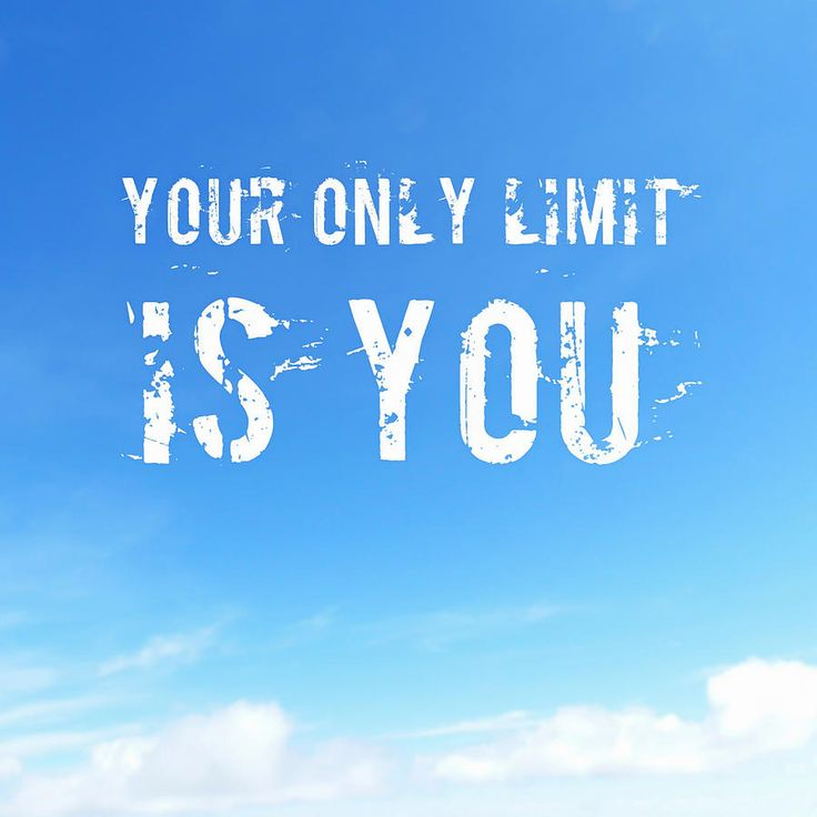 Your only limit is you - motivational quote, white text in bright blue sky. Available as poster, throw pillow, duvet cover, framed fine art print, metal, acrylic or canvas print. (c) Matthias Hauser hauserfoto.com
