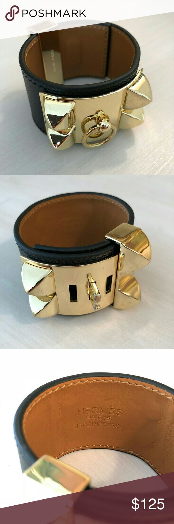 Hermes Collier de Chien Condition: Excellent; new  Description: A brand new Hermes Collier De Chien (CDC) style cuff in a size small (see dimensions below) with black leather.  Dimensions  Size: Small Width: ~1.5 inches Length (end to end): ~8.5 inches Hermes Accessories