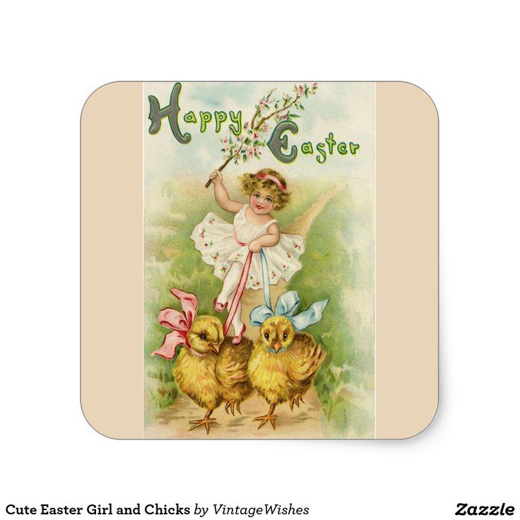 Cute Easter Girl and Chicks Square Sticker