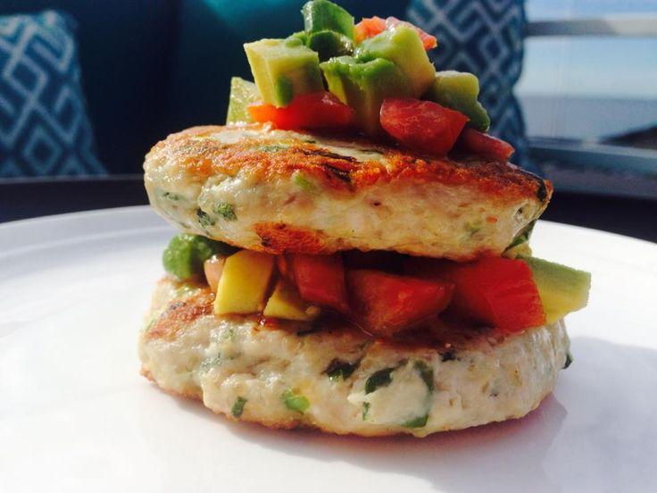 Chicken, quinoa and feta patties with avocado and tomato salsa