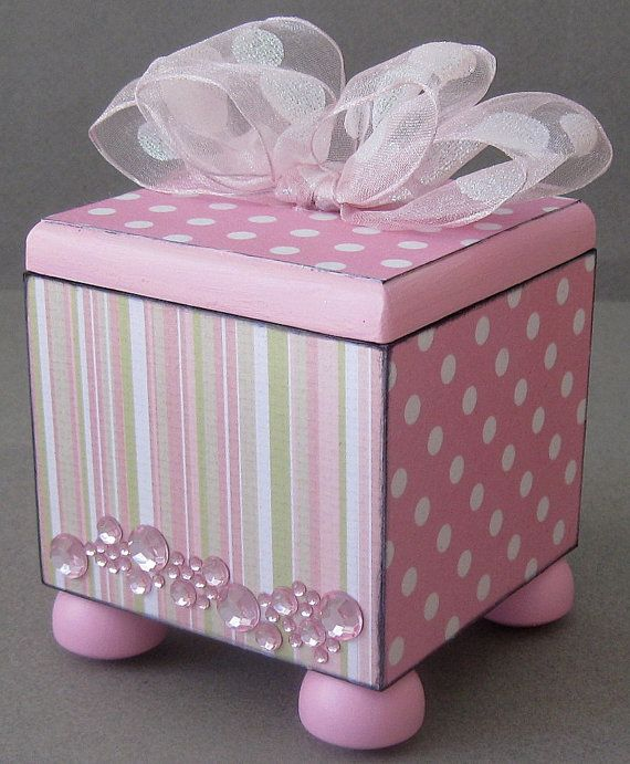Pink and Polka Dot Trinket Box by funkyart08 on Etsy