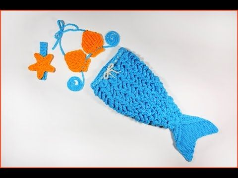 How to Crochet Baby Mermaid Outfit with Crocodile Stitch - YouTube