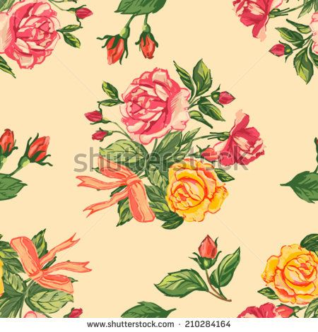 Beautiful seamless floral pattern background. Flower bouquets