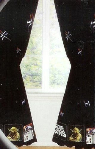 star wars curtains window treatment 2 panels drapes by. Black Bedroom Furniture Sets. Home Design Ideas