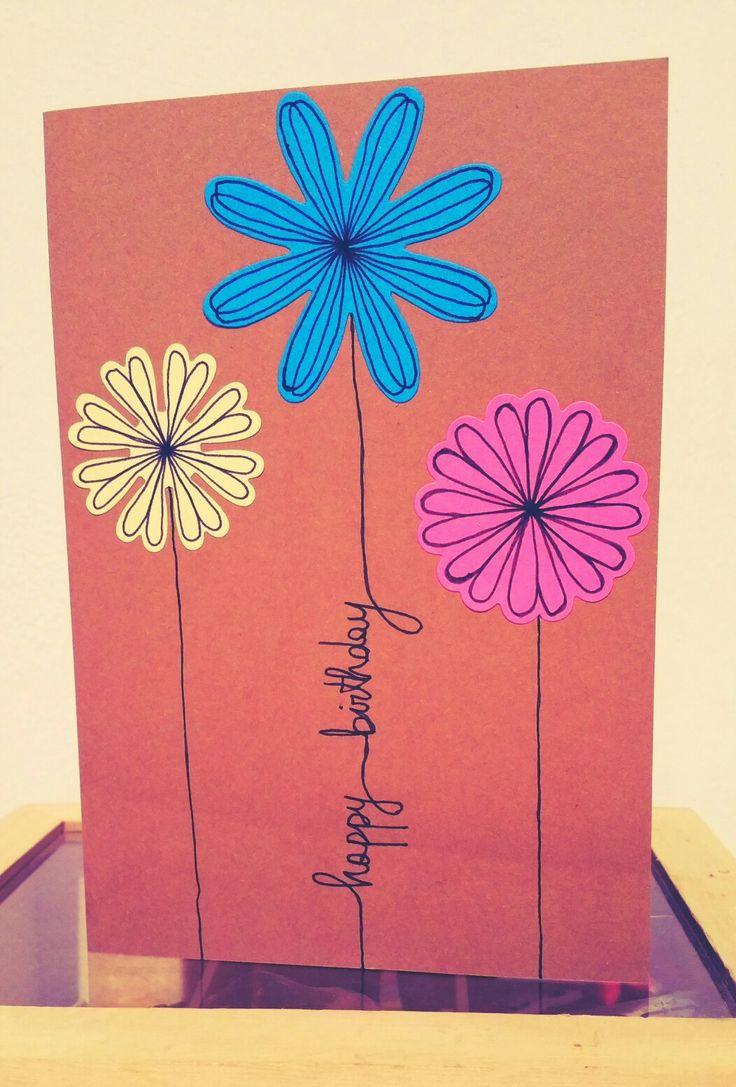 Birthday card - flowers and paper. Handmade