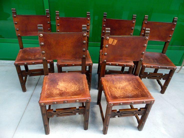 6 sedie da castello in faggio seduta in pelle borchie in ottone