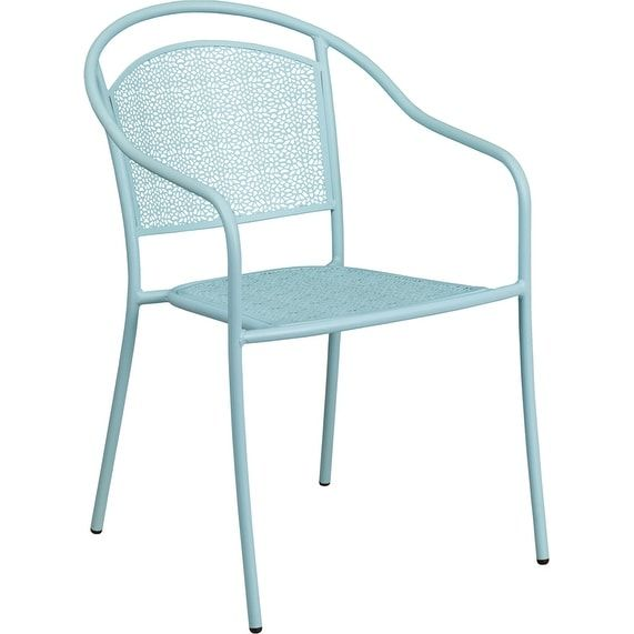 iHome Westbury Sky Blue Indoor/Outdoor/Patio/Bar Steel Patio Arm Chair w/Round Back, Patio Furniture