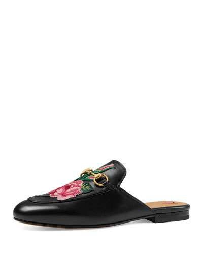 Princetown Bloom Floral Slipper, Black