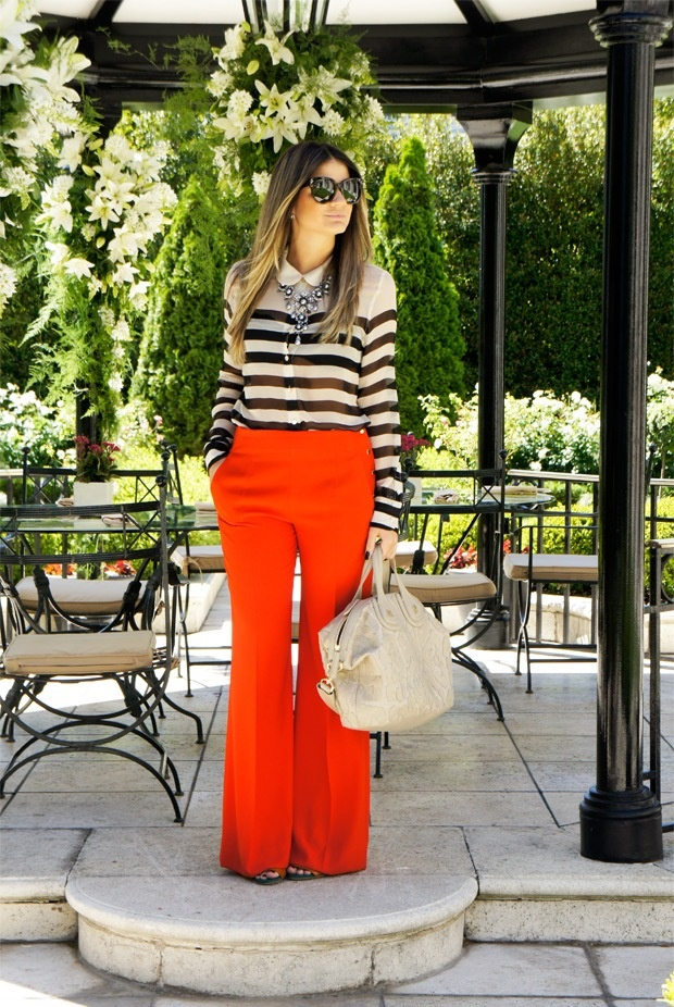Love the flowy red pants with a blue and white shirt.