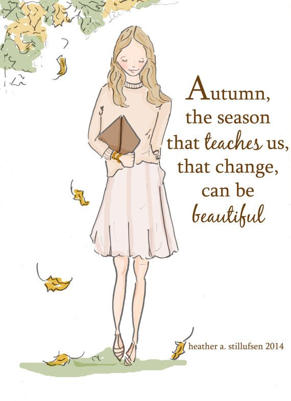 Autumn Artwork Change is Beautiful Art by RoseHillDesignStudio:
