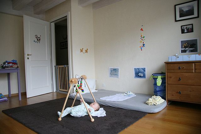 Donovan's first bedroom, with a Montessori floor bed. Loved this room, was HUGE and got the most gorgeous light... #montessori #nursery #floorbed