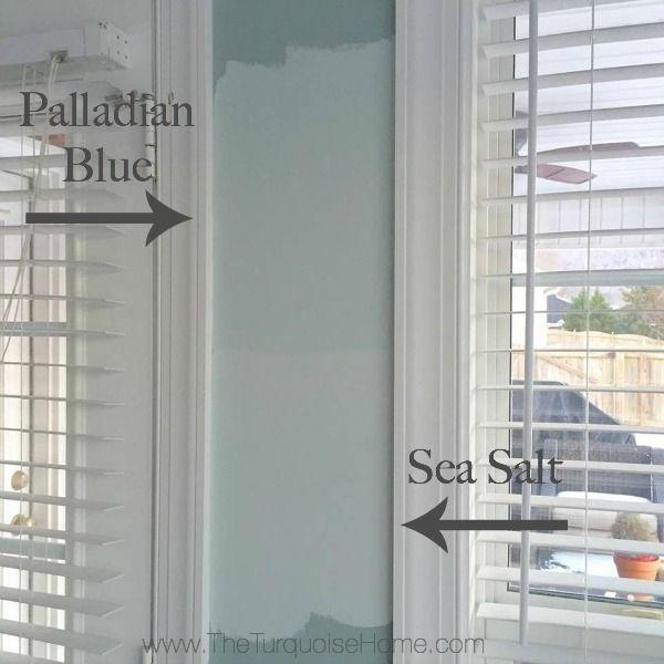 Benjamin Moore Palladian Blue vs. Sherwin Williams Sea Salt - I think I like the Sea Salt for our bathroom