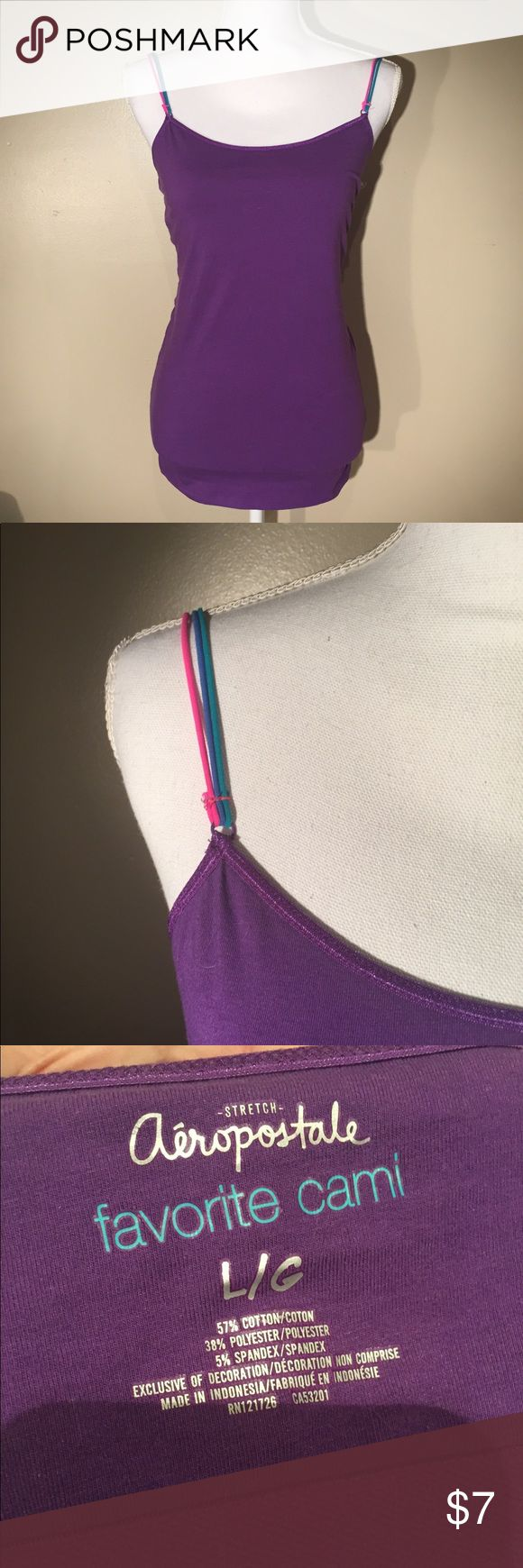 ❗️clearance❗️Purple cami Like new very stretchy purple Cami from Aeropostale with fun color straps. Has a shelf bra Built in Aeropostale Tops Camisoles