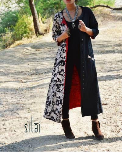 Black Kalamkari Jacket Style Tunic I Shop at :http://www.thesecretlabel.com/silai