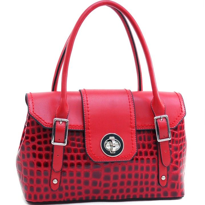 Dasein Women's Patent Croco Fashion Satchel w/ Twist Lock Closure - Red from The Yes Foxy Boutique   - for the fox In you... for $69.99