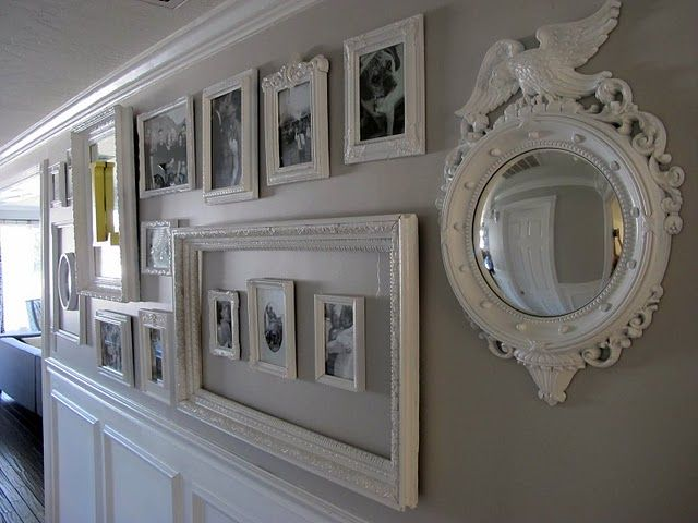 white hallway gallery wall: Galleries, Decor Ideas, Frames, Gallery Walls, Photo Wall, Dream Book, Frame Idea, Book Design