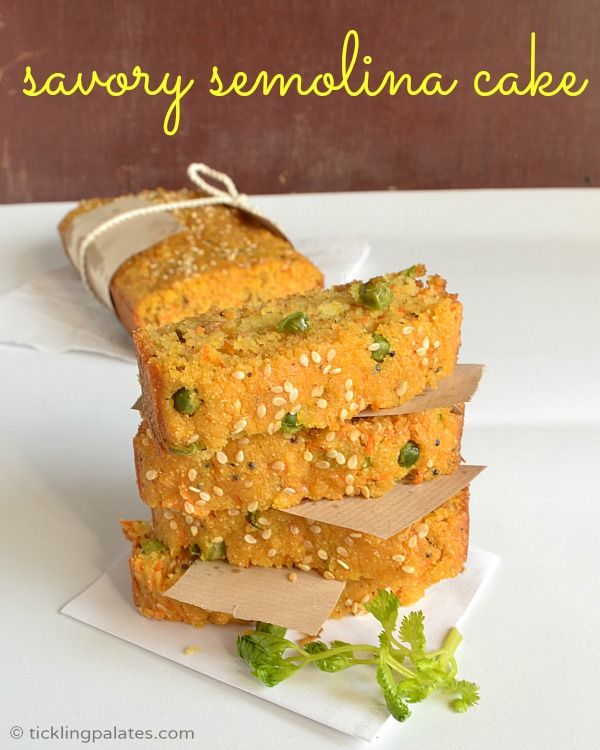 Savory Semolina Cake Recipe | ticklingpalates.com #eggless #cake #vegan