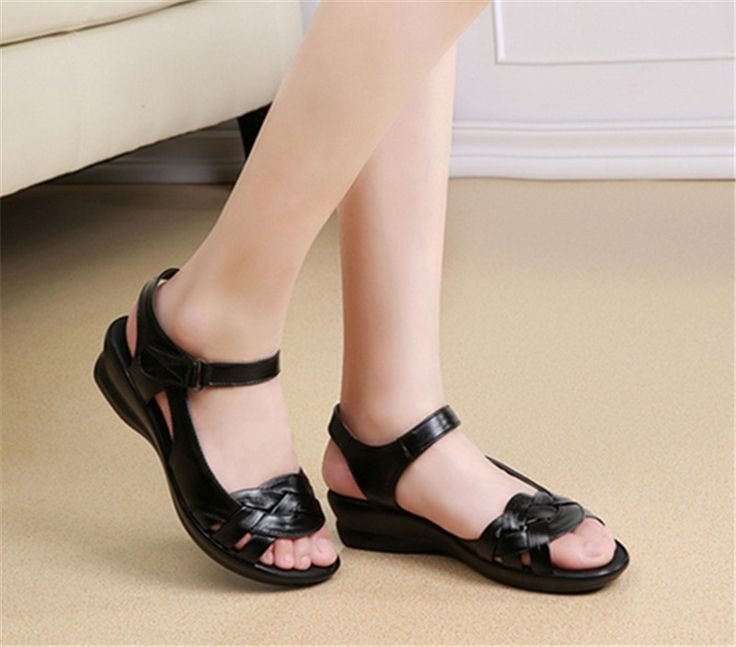 Quinquagenarian Flat Open Toe Low Wedge Heel Real Leather Sandals 3 Colors.