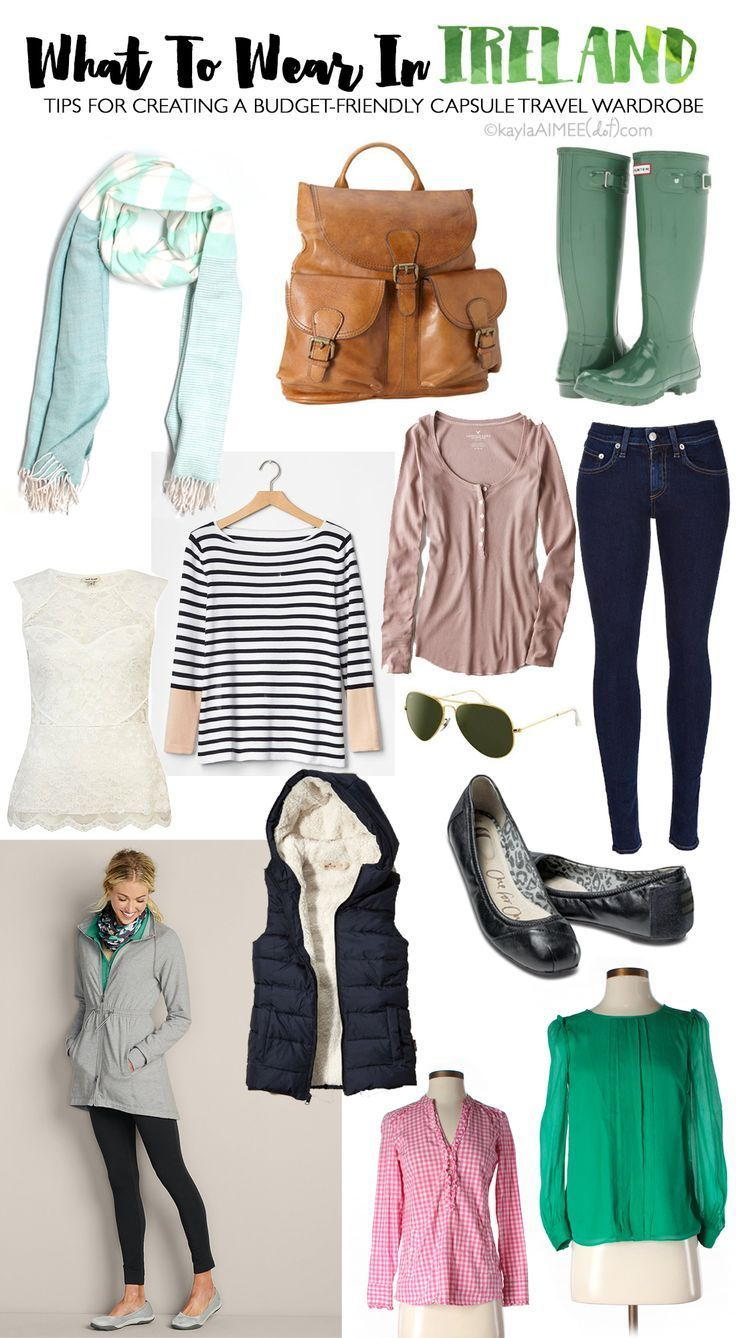 What To Wear In Ireland: Packing For Ireland In The Spring! - Not a bad wardrobe, though I would change out the wellies for water resistant hiking shoes.