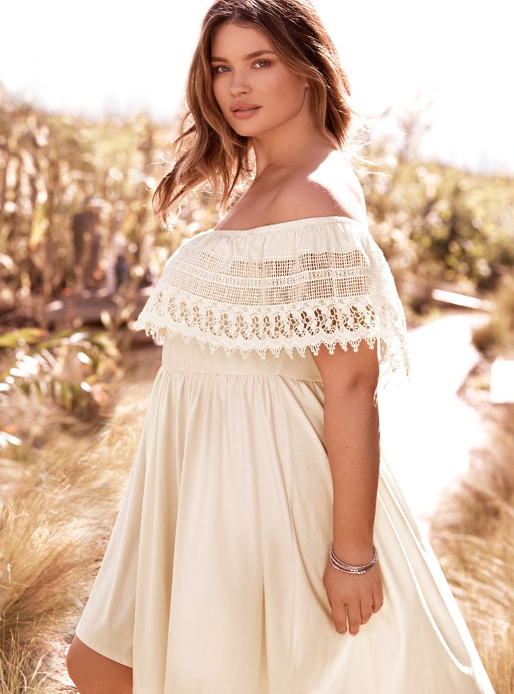 Well, this is embarrassing. We made a dress so perfect that you'll never have to buy another one! The ivory jersey knit on this v-hem skater style is stretchy already, but we added a stretch waistband just in case. The off shoulder ruffled trim is boho goals with a lace overlay.
